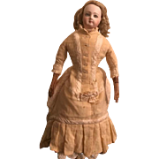 Antique Jumeau French Fashion Doll Cloth Body Antique Clothes with Hairline