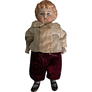 Antiuqe All Bisque Boy Doll with Molded Hair