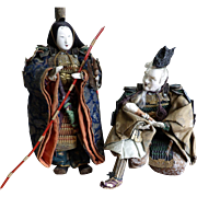 Early Edo Period Set of Japanese Dolls Depicting Empress Jingu, Takenouchi and Infant Ojin