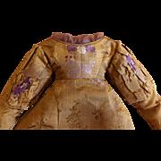 Reproduction Dress for Large Grodnertahl or Paper Mache of  Antique Fabrics  & Trim with Antique Bonnet