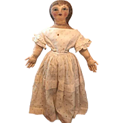 Antique Oil Painted Face Presbyterian Rag Cloth Doll Early Americana
