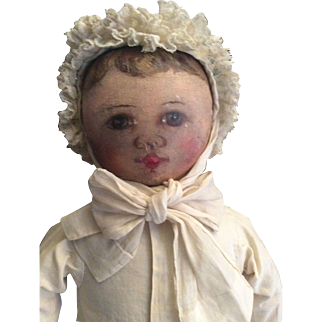 Antique Cloth Columbia Doll as Child.