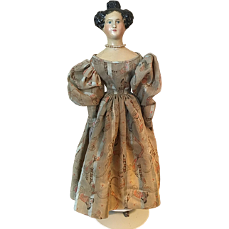 Antique 19thc Paper Mache Doll with Apollo Knot Hair on Milliner's Body