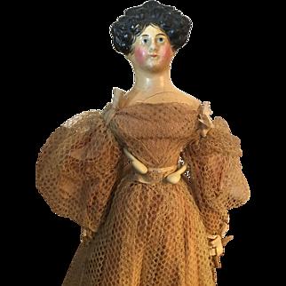 Antique 19thc Apollo Knot German Paper Mache Doll All Original
