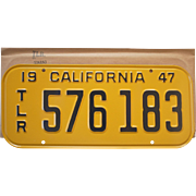 Vintage 1947 California Trailer License Plate