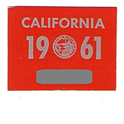 California License Plate Decal 1961