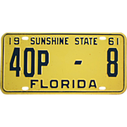 1961 Florida License Plate Low Number
