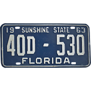 Old 1963 Florida License Plate