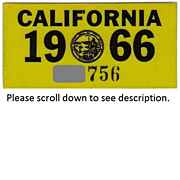 Old California Sticker 1966
