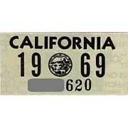 Old California License Plate Sticker 1969
