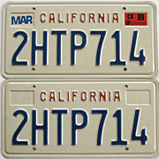 California License Plates Block Pair 1989