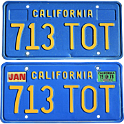 Blue and Yellow California License Plates 1978