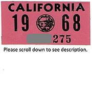 Vintage 1968 California Sticker