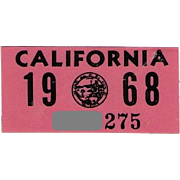 Vintage 1968 California Sticker