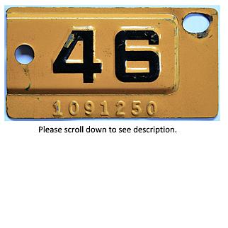 1946 California License Plate Tab