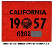 Old California Sticker 1957