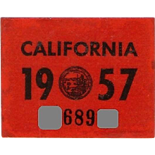 Old 1957 California Sticker YOM