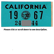 1967 California Sticker