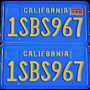 Blue California License Plates 1980