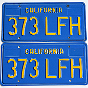 Old Blue and Yellow California License Plates