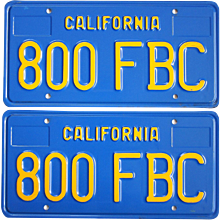 Blue and Yellow California License Plates