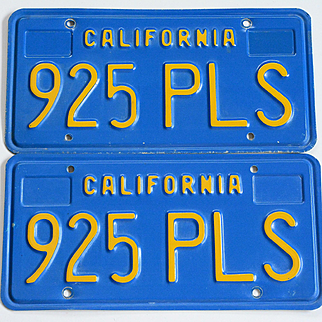 California Blue and Yellow License Plates