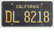 Black California License Plate, 1963-1969 Trailer