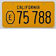 Old California Exempt License Plate, 1956
