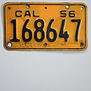 Vintage California Motorcycle License Plate 1956-1962
