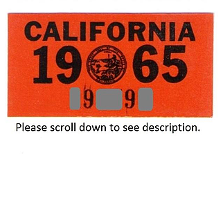 California License Plate Sticker 1965