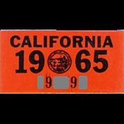 California License Plate Sticker 1965