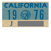 YOM California License Plate Sticker, 1976