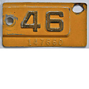 Old California License Plate Year Tab 1946, YOM