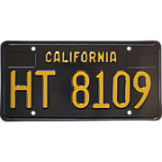 Black California Trailer Plate 1963 to 1969