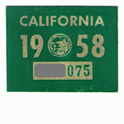 Old California License Plate Sticker 1958