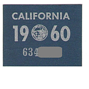 1960 California License Plate Sticker