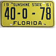 Vintage Florida License Plate, 1961 Tag