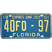 Old Florida License Plate 1961
