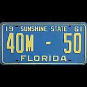 Vintage 1961 Florida License Plate