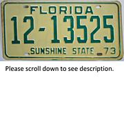 1973 Florida Tag