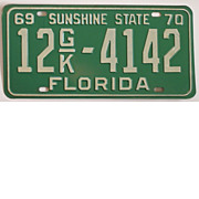 Vintage Florida License Plate, 1969 Tag, Commercial