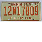 Florida License Plate, 1972 Tag, 12W17809