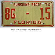 Old Florida Tag 1974