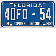 Florida License Plate, Tag, 1962
