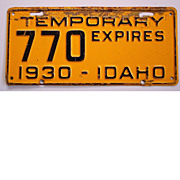 Old Idaho License Plate 1930 Temporary