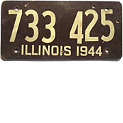 Old Illinois License Plate, 1944, Fiberboard, 733-425