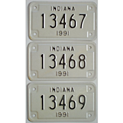 Indiana Motorcycle Plates 3 from 1991