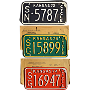 Vintage Kansas Motorcycle License Plates 1972 1973 1974