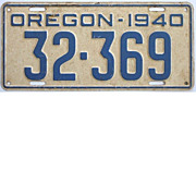 Vintage 1940 Oregon License Plate