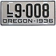 Vintage Oregon License Plate 1936